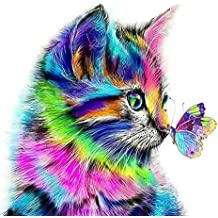 5D DIY Diamant Peinture, en Point de Croix en Résine Décoration de Maison Salon Chambre - Chat et Papillon Multicolore Mignon (20*20cm, cat)