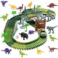 WoBoSen Pista Coches Flexible Juguetes con Dinosaurio Juego Electrónico para Niños 3 4 5 Años (Circuito Coches)