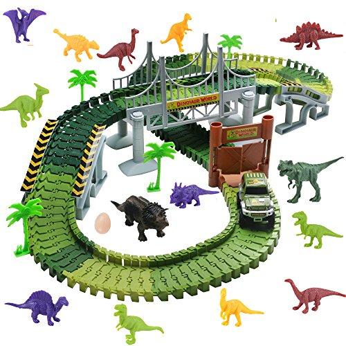 WoBoSen Pista Coches Flexible Juguetes con Dinosaurio Juego Electróni