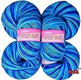 #7: Vardhman Baby Soft Wool, (Multi Azure) (Pack of 6)