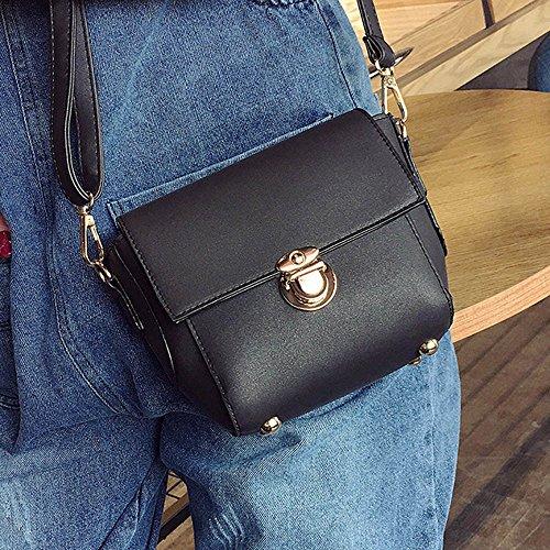 Longra Donne Pure Color singolo sacchetto di spalla Nero
