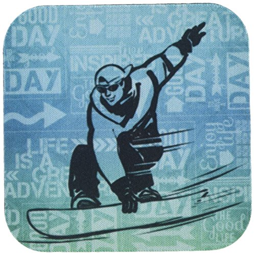 3dRose cst_173215_1 Snowboarding Winter Sports Silhouette with Adventure Word Art Soft Coaster (Set of 4)