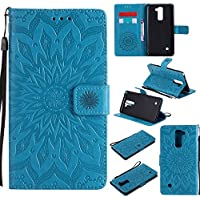 Funda LG G4 Stylus2 LS775 Case , Ecoway Girasoles patrón en relieve PU Leather Cuero Suave