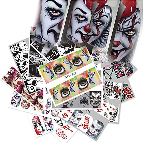 25 Fogli Di Halloween Waterslide Chiodo Chiodo Decalcomanie Della Smorfia Skull Eye Art Wrap Sticker Manicure Kit