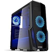 EMPIRE GAMING - Case PC Gaming Warfare Nero LED Blu: USB 3.0 e 3 Ventole LED 120 mm, Parete Laterale Trasparente Affumicato - ATX/mATX/mITX