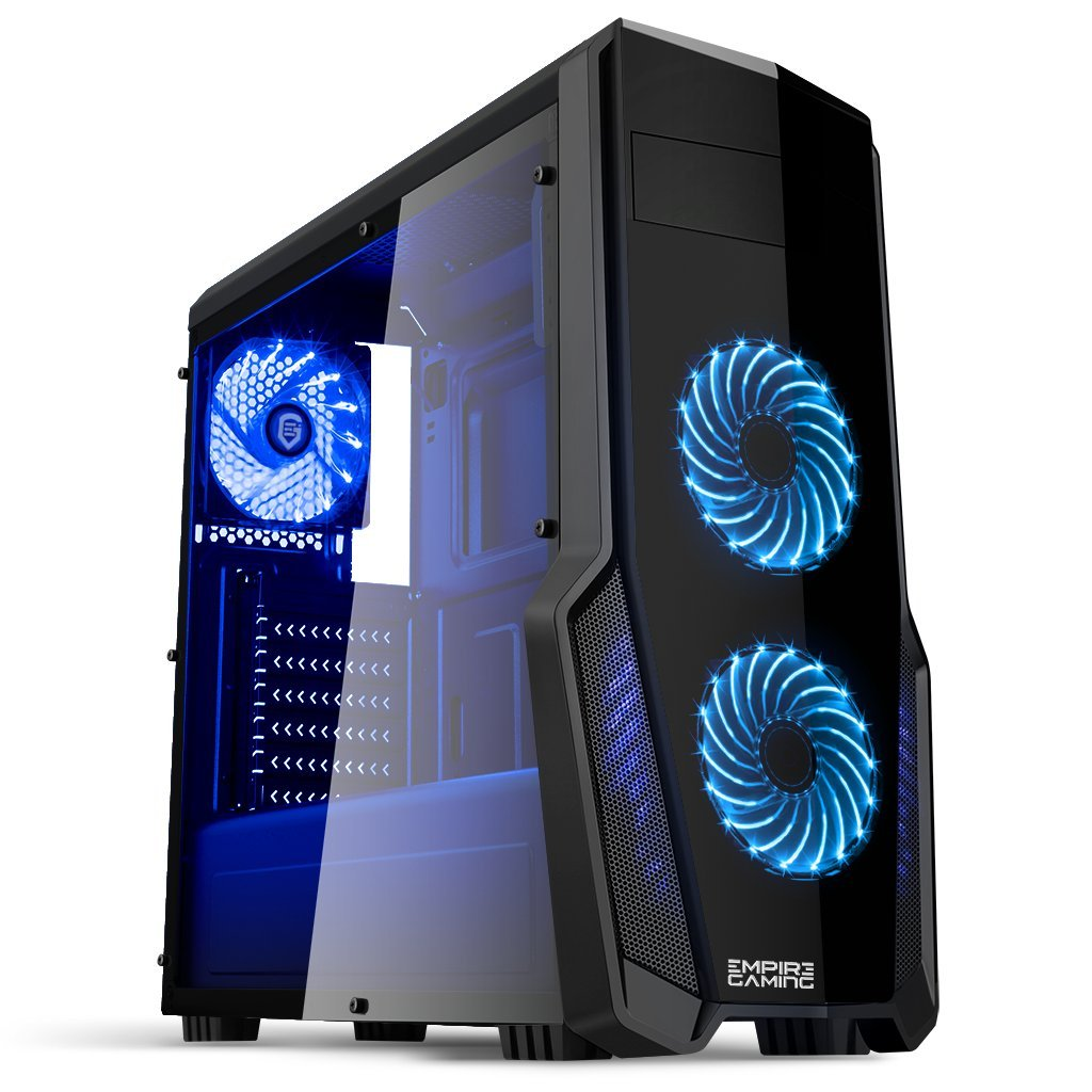 Empire Gaming – WarFare PC Gaming unit – USB 3.0, 3 x 120 mm LED Fans, Smoked transparent side panel – ATX / mATX / mITX