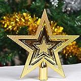 9.5CM paillettes d'or étoile en haut du sapin de Noël Ornements Décorations de Noël...