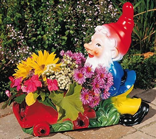 Zwerg mit Kipplore 42 x 37 cm 6056 bepflanzbare Figur aus Kunststoff