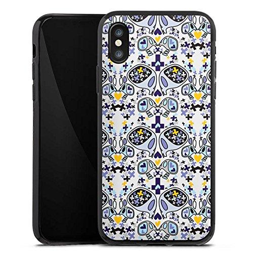 Apple iPhone X Silikon Hülle Case Schutzhülle Skull Totenköpfe Muster Silikon Case schwarz