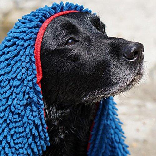 Hunde Handtuch, Extrem Saugfähige Mikrofaser Chenille Hundehandtuch mit Einschubtaschen, Strapazierfähig, Schnelltrocknend, Waschbar, Verhindert Schlammschmutz