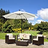 New ROMA Rattan Wicker Weave Garden Furniture Patio Conservatory Sofa Set INCLUDES OUTDOOR PROTECTIVE COVER (Brown)