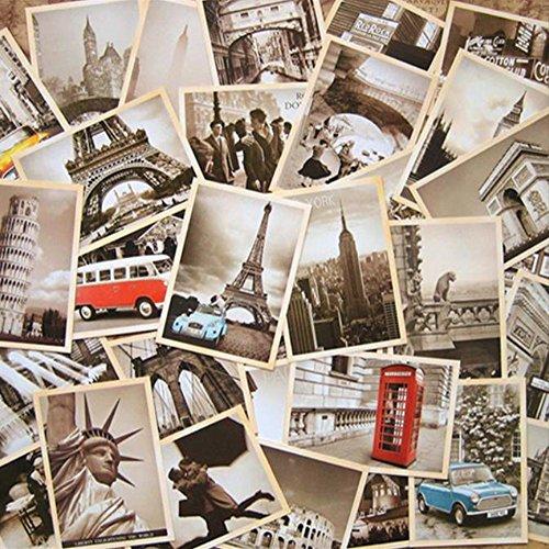 Foto de EUGU 32 piezas 1 set Vintage retro postales antiguas de viaje para recaudar valor