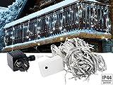 Lunartec Lichterkettenvorhang: LED Lichterketten-Vorhang 'Snow' mit 180 LEDs, IP44, kaltweiß (Weinachtsbeleuchtung)