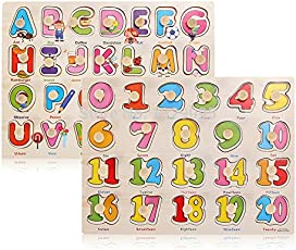 celebrationgift Wooden Capital Letters, Alphabet with Numbers 1 to 20 Puzzle and Knobs (Multicolour)