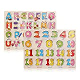 Homesoul Celebrationgift Wooden Capital Letters, Alphabet with Numbers 1 to 20 Puzzle