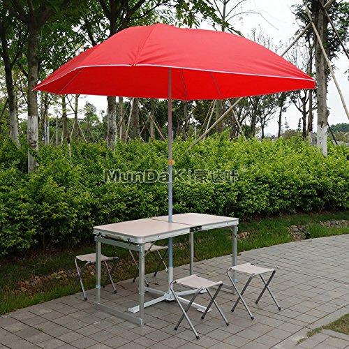 Xing Lin Klapp Tisch Outdoor Klapptisch Und Stühle Mit Blue Square Regenschirm Set Bbq Tisch Picknicktisch Portable Tabelle Tabelle 120*60*60 Cm, Weiss Tisch +4 Tuch Hocker + Red Square Regenschirm + Schirm Sitz Abschaltdruck (Weißes Sitz-hocker-bar)