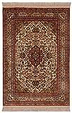 Morgenland Seidenteppich Kaschmir Reine Seide 95 x 63 cm Beige Handgeknüpft