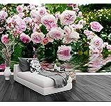 3D Stereoskopische Fototapete Luxus Rosengarten Rosa Rose Wasser 3D Natur Tapete Für Wohnzimmer, 430X300Cm (169.29X118.11 In)