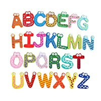 Purposefull Wooden Magnetic Alphabet - Educational Learning Materials for Children - 26-Piece A-Z Letters in Various Colours