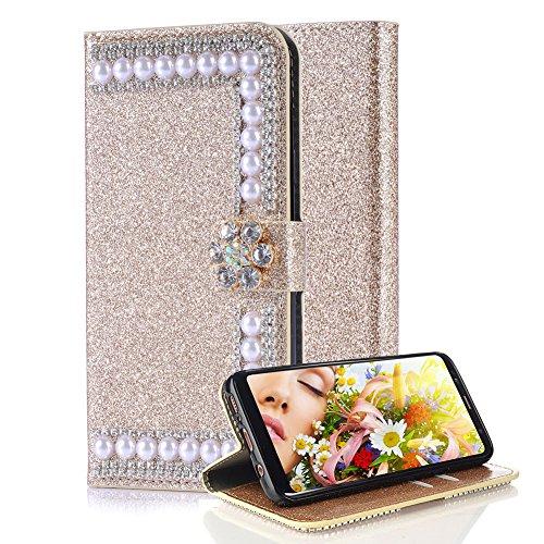 Aearl Diamant Lederhülle für Samsung Galaxy S7 Edge, 3D Bling Glitzer Perle Kristall Blume Stand Hülle mit Karte Halterung Leder Wallet Flip Book Case TPU Cover Bumper Tasche- Gold