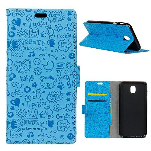 MEIRISHUN Nokia 2 Hülle, [Multi-Karten-/Geldsteckplatz] Muster Flip PU-Leder Geprägte Handytasche für Nokia 2 - Blau