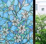 Zindoo Fensterfolie Selbstklebendes Datenschutz Sichtschutzfolie Dekorative Schmutzfänger Aufkleber Anti- UV Orchidee Pattern Upgrade Version für Haus & Küche & Büro Badezimmer 44,5 x 200 CM
