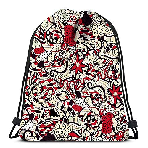 Drawstring Backpack Bags Tracery Calming Mehendi Design Neat Even Colorful Harmonious Texture Algae Soft Polyester Gym Backpack -