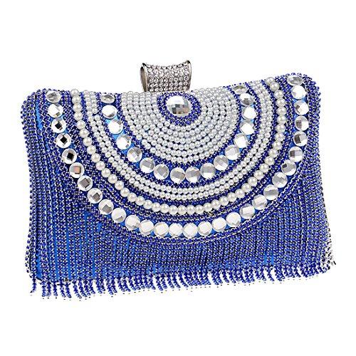 YYW Rhinestone Bag Bag, Poschette giorno donna Blue