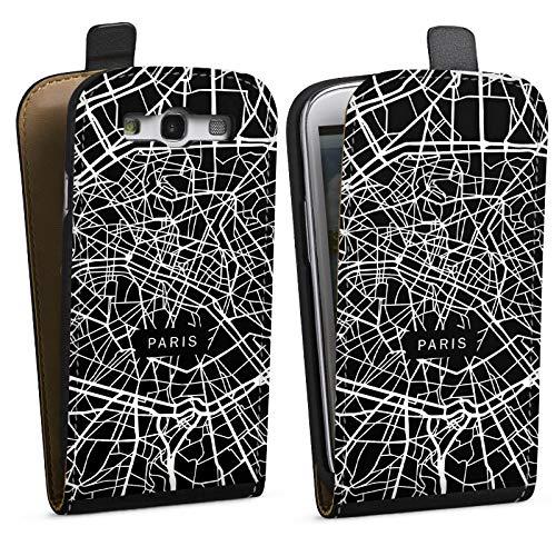 DeinDesign Tasche kompatibel mit Samsung Galaxy S3 Flip Case Hülle Paris Karte Stadt -