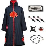 Amycute Naruto Itachi Mantello Naruto Costume, Naruto Cappotto Fascia Anello Collana Kunai Shuriken per Bambini Adulti Hallow