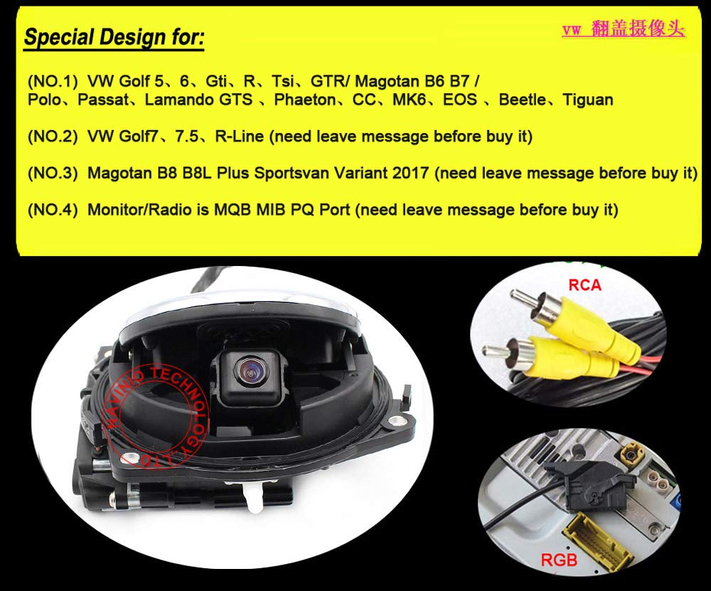 Originale-VW-RCA-RGB-Logo-Emblem-Rckfahrkamera-Wasserdicht-Nachtsicht-Auto-Rckansicht-Kamera-Einparkhilfe-Rckfahrsystem