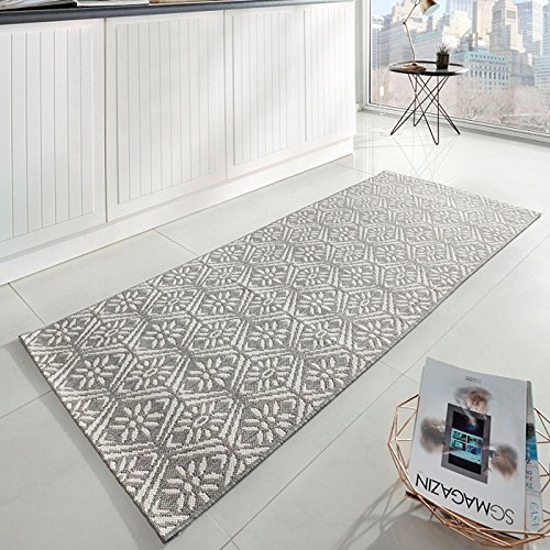 Zala Living Creation Küchenläufer Flachgewebe, Polypropylen, Grau / Creme, 200 x 80 x 0,8 cm