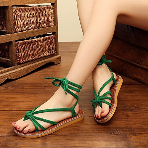 GJDE Donne Sandali Dolce Stile Spiaggia Scarpe Perline-Strap Peep Toe Pantofole Green