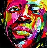 FineDecoArt Kollektion 'Noah' Gemälde Leinwand Acryl Bilder Gemalt 100x100 Portrait Mann Gesicht Face Bunt Pop Art Unikat Bild Modern groß Abstrakt XXL Quadratisch Kunst Malerei Wanddeko Exclusiv