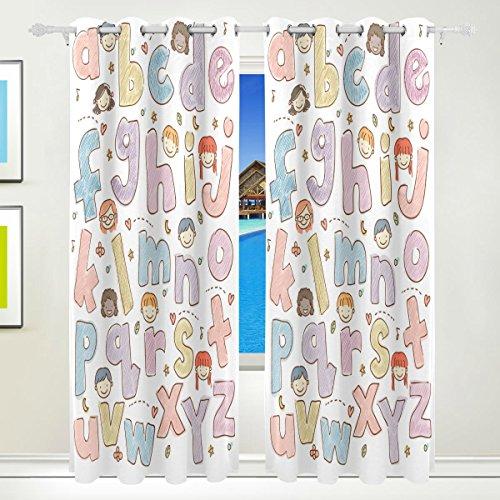 mydaily Cute ABC Alphabet Kinder Thermo-Isoliert Blackout Tülle Fenster Vorhänge für Wohnzimmer Schlafzimmer 2Felder Behandlungen Home Decor 139,7x 213,4cm Alphabet Vorhänge