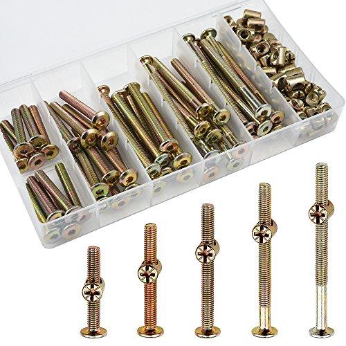 JALAN 100 Stück M6 x 40/50/60/70/80 mm Verzinkter Innensechskant Zylinderschrauben Schraubenmuttern Sortimentskit für Möbel Kinderbetten Krippe und Stühle
