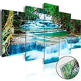 Neuheit! Modernes Acrylglasbild 200x100 cm – 5 Teilig - 2 Formate zur Auswahl - Glasbilder – TOP – Wand Bild - Kunstdruck - Wandbild – Bilder - Landschaft Natur Wasserfall Thailand Baum Wald b-B-0080-k-m 200x100 cm