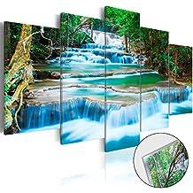 Cuadro de cristal acrílico 200x100 cm 5 Partes - 2 tamanos opcionales - Cuadro de acrílico TOP Cuadro - Impresion en calidad fotografica - Paisaje Naturaleza Cascada Tailandia árbol Foresta b-B-0080-k-m 200x100