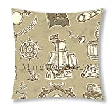 Little Sun 98Geheimnisvolle Mittelalter Piraten Flagge Totenkopf 47Dekorative Baumwolle Polyester Überwurf Kissenbezug 45,7x 45,7cm (eine Seite)