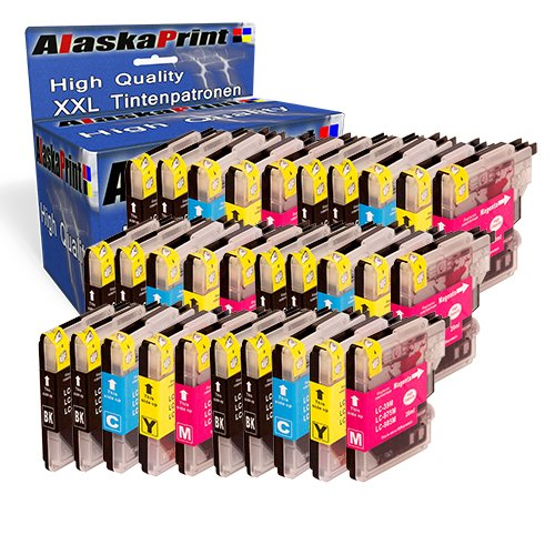 30 Druckerpatronen Kompatibel für Brother LC985BK LC985C LC985M LC985Y XL für Brother MFC-J265W...