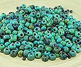 Round Seed Beads Anissa Exclusivo Picasso Mezcla de Cristal checo Semilla de Perlas Rústico Turquesa Multicolor Rayas Aproximada de Edad Tribales 20g