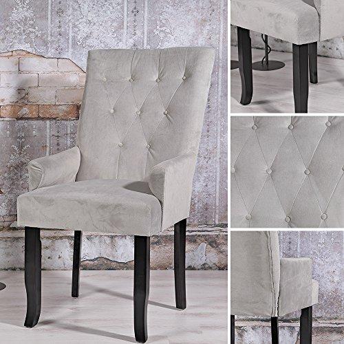 Esszimmerstuhl Loungesessel Stuhl Beistellstuhl Lehnstuhl Barockstil Grau