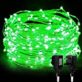 LED String Lights, MORECOO 33ft 100 LEDS Power Adapter Included Waterproof Starry String Light , Flexible Thin Silver Wire Christmas Decorative Lights for Indoor Outdoor Seasonal Holiday.(Green)