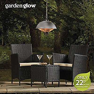 Garden Glow 1500W Ceiling Mounted Hanging Halogen Patio Garden Heater with Pull Switch for Outdoor Use