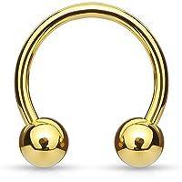 Via Mazzini Stainless Steel 10mm Golden Circular Barbell Belly/Septum/Nipple/Eyebrow Piercing for Women and Men (BB0015)