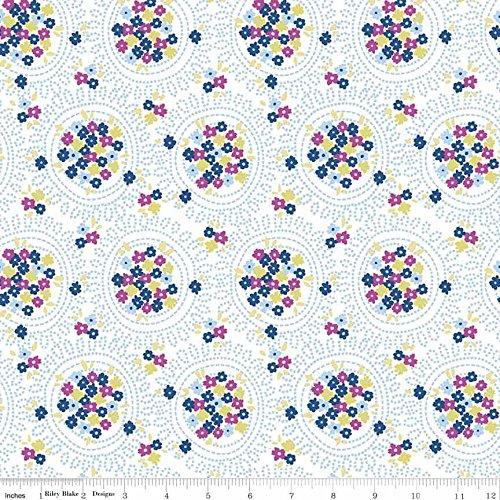 Baumwolle Stoff-Fat Quarter-Riley Blake-Blau Carolina-Cluster Weiß (Blau Und Weiß Fat Quarter)