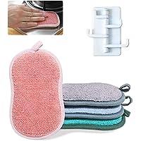 LISOPO 4pcs Éponges microfibre à Vaisselle Lavable Éponges Ecologique Eponge en Microfibre avec un Crochet Adhésif…