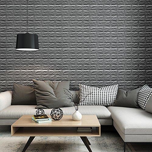Grau 3D Ziegel Tapete, Wandpaneele Stereo Wandtattoo Papier Abnehmbare selbstklebend Tapete für Schlafzimmer Wohnzimmer moderne Hintergrund TV-Decor (70 x 77cm)/pcs x 10pcs - Tapete Ziegel Grau