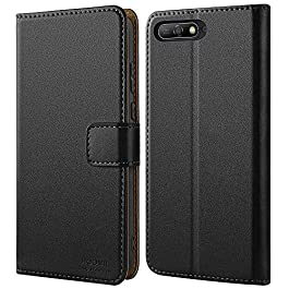 HOOMIL Case Compatible with Huawei Y6 2018, Premium Leather Flip Wallet Phone Case Cover for Huawei Y6 2018 (Black)