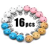 RUBY - 16pcs clip di legno colorato ciuccio clip bambino reggicalze, portacandele fittizio sicuro per la dentizionetizione (4 colore)